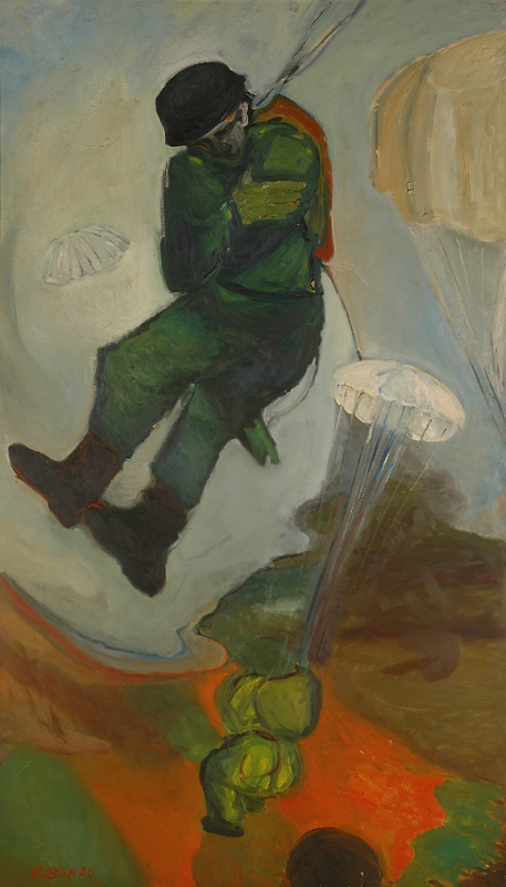 """""""Le Parachutiste"""", huile sur toile, 200 x 120 cm, 1954."""