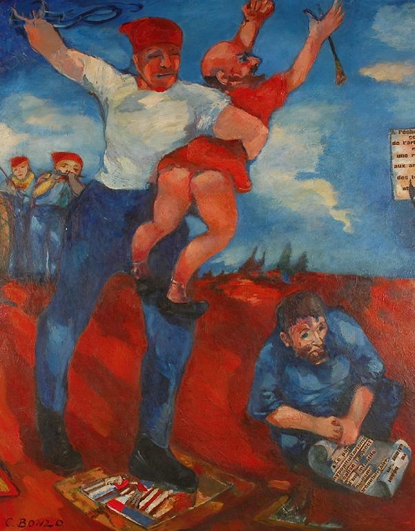 Les Bouffons de la Peinture (détail), huile sur toile, 220 x 300 cm, 1962.