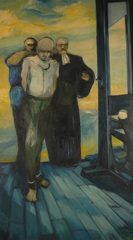 """""""L'Échafaud"""", huile sur toile, 200 x 120 cm, 1957. Château-Musée de Tournon-sur-Rhône."""
