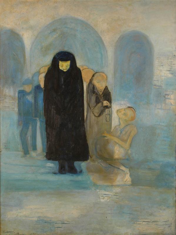 L'Enterrement, huile sur toile, 240 x 180 cm, 1950.