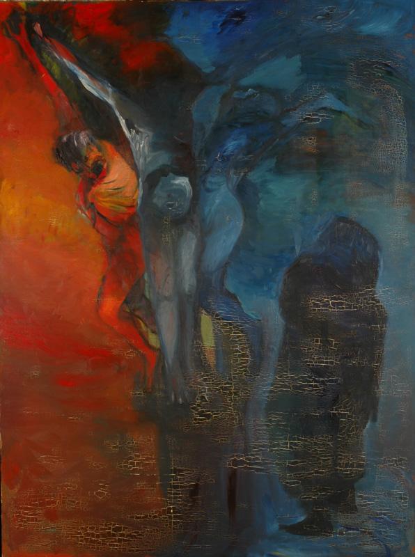 Crucifixion 2, huile sur toile, 240 x 180, 1964.