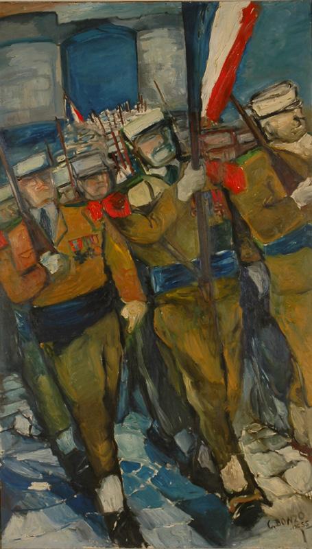 Entrée dans une ville prise, huile sur toile, 200 x 120 cm, 1955.