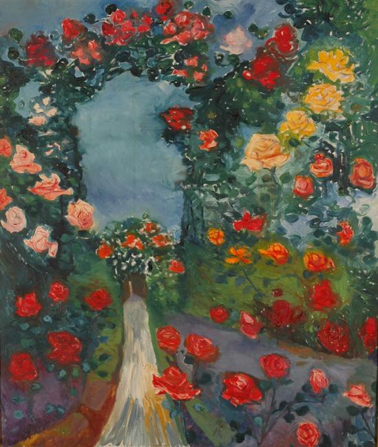 """""""Roseraie aux arceaux"""", huile sur toile, 157 x 133 cm, 1957."""