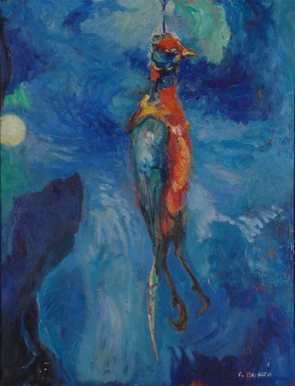 """""""Faisan pendu"""", huile sur toile, 117 x 80 cm, 1962."""