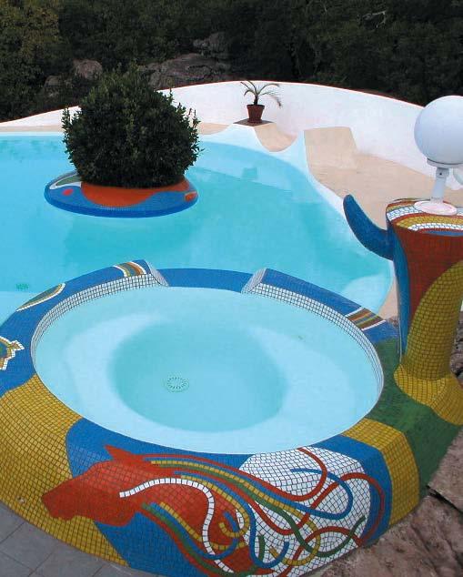 Joël Unal, piscine avec mosaïques, Maison Unal (Chapias, Ardèche)