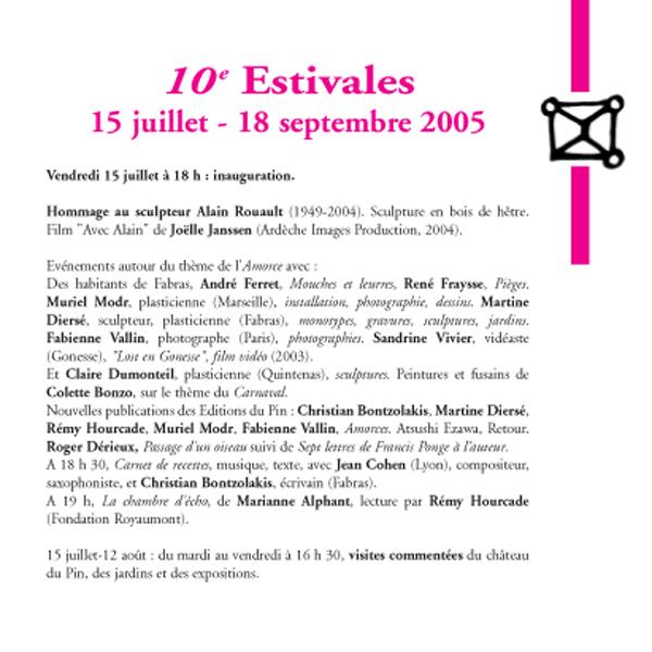 10° Estivales, programmation