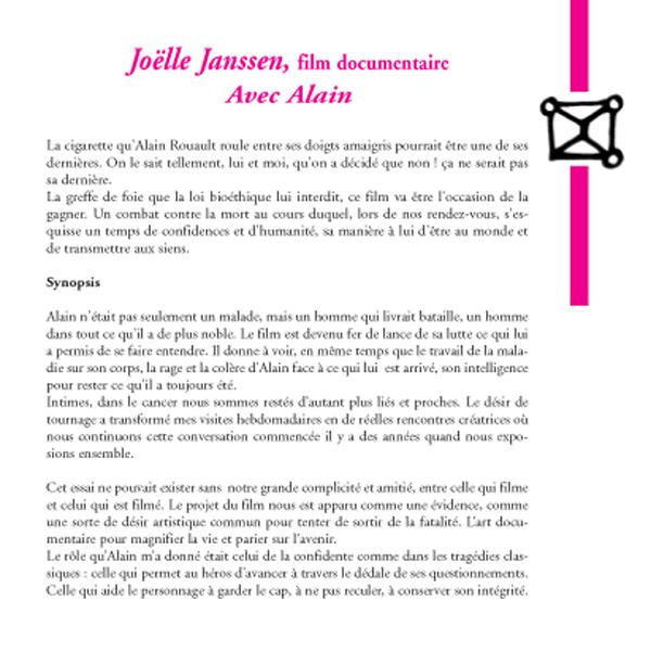 Joëlle Janssen, film sur Alain Rouault