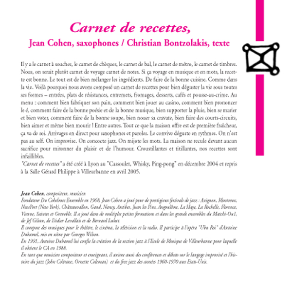 """""""Carnet de recettes"""" / Jean Cohen (saxophones), Christian Bontzolakis (texte)"""