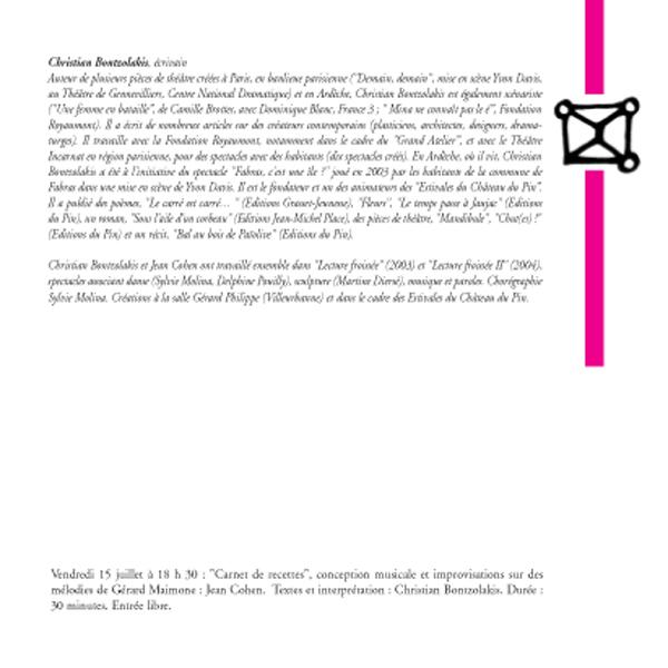 """""""Carnet de recettes"""" / Jean Cohen (saxophones), Christian Bontzolakis (texte), suite et fin"""