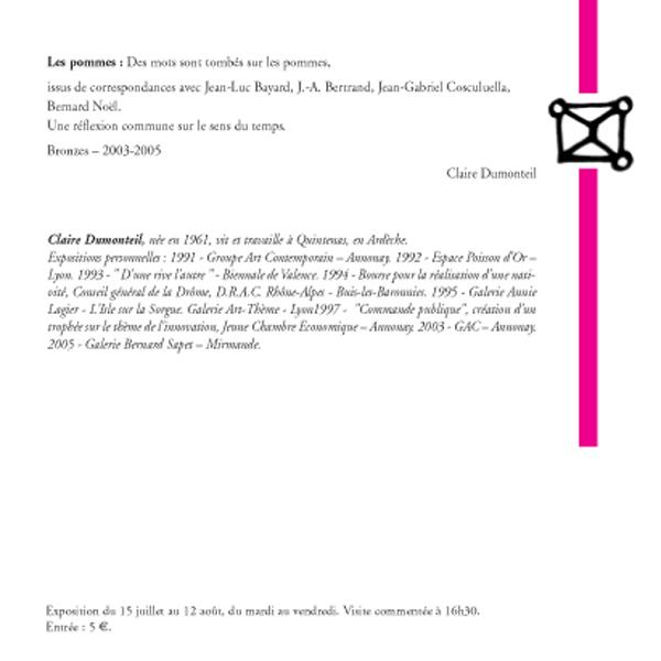 Claire Dumonteil, sculptures (suite et fin)