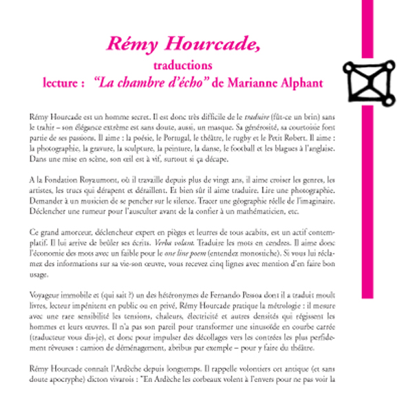 Rémy Hourcade, traductions / lectures