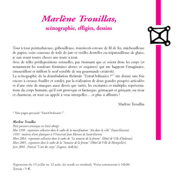 Marlène Trouillas, scénographie, effigies, dessins