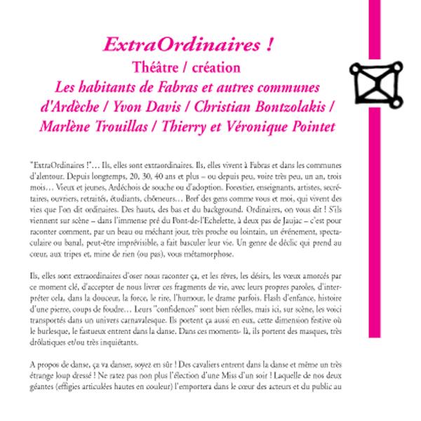 """Théâtre / création : """"ExtraOrdinaires !"""""""