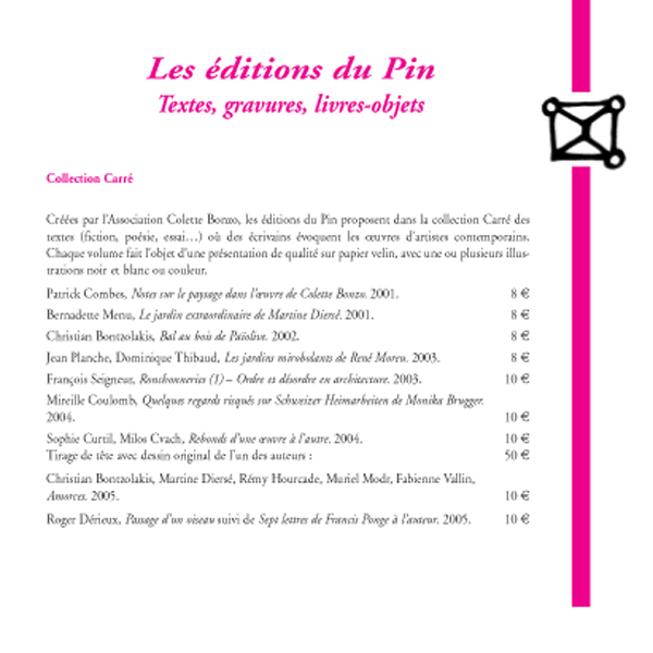 Les Editions du Pin, catalogue