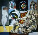 """Hubert Stérin, """"sans titre"""", collage, acrylique, papier journal, 1983."""