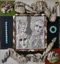 """Hubert Stérin, """"sans titre"""" collage, acrylique, papier d'aluminium, papier journal, 1983."""