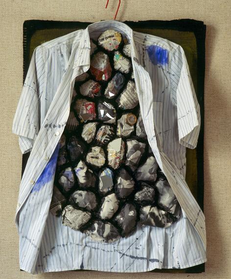 """Hubert Stérin, """"sans titre"""", collage, acrylique, tissu, 1983."""