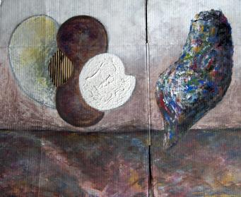 """Hubert Stérin, """"Gémellité"""", acrylique sur carton et collage (1983), 2008."""