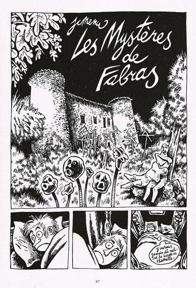 """Jean-Christophe Menu, Château du Pin, planche 5. """"Les Mystères de Fabras"""", page d'ouverture de l'album en projet."""