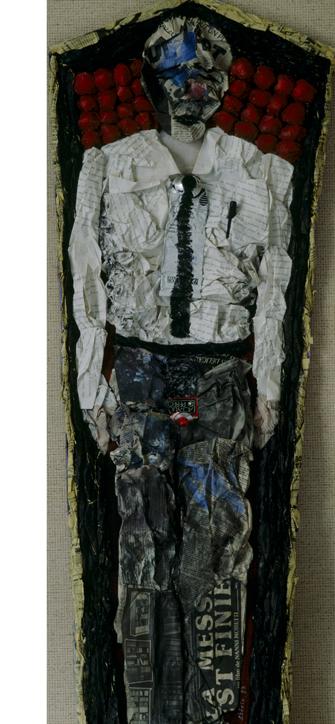 Hubert Stérin, collage matériaux divers et peinture acrylique.