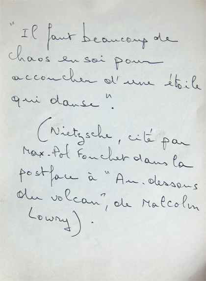 Hubert Stérin, texte manuscrit.