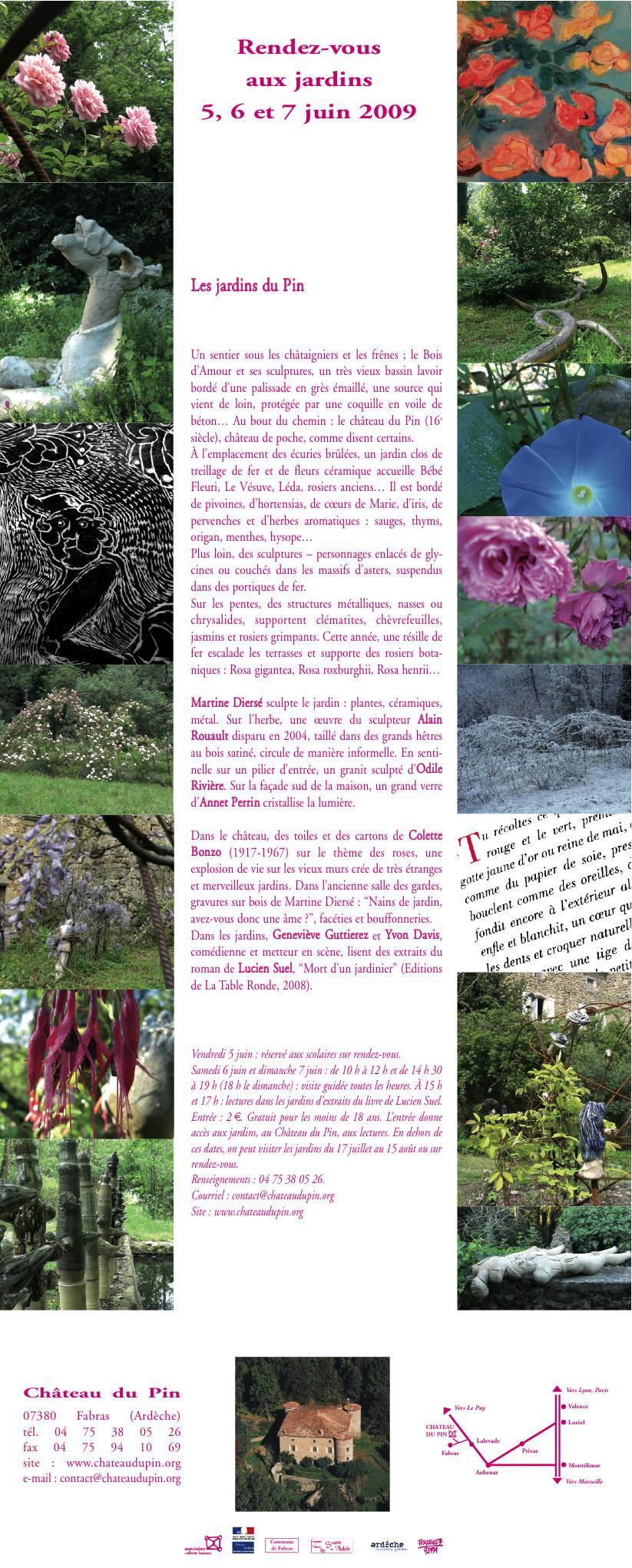 """Invitation aux """"Rendez-vous aux jardins"""" des 5, 6 et 7 juin 2009."""