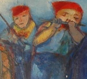 """Musiciens. Détail d'un tableau de Colette Bonzo, """"Les Bouffons de la Peinture""""."""