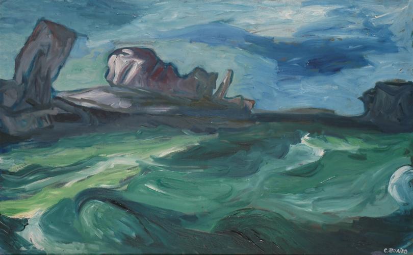 """""""La haute mer"""", huile sur toile, 74,5 x 16,5 m, 1957."""