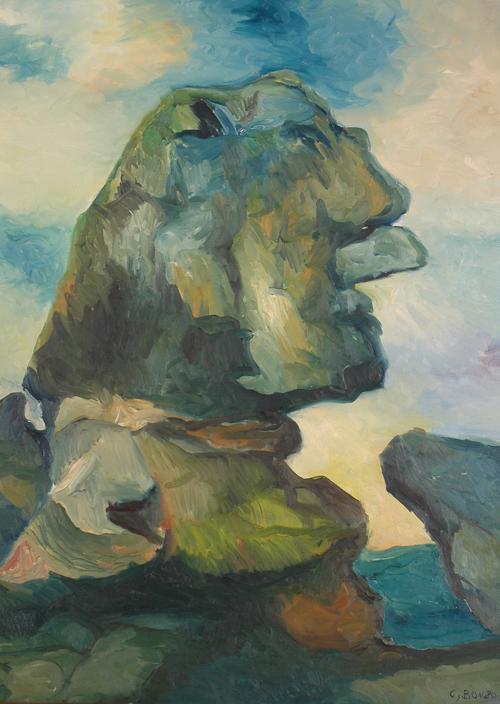 """""""Le Rocher du Sphinx"""", huile sur toile, 1957."""