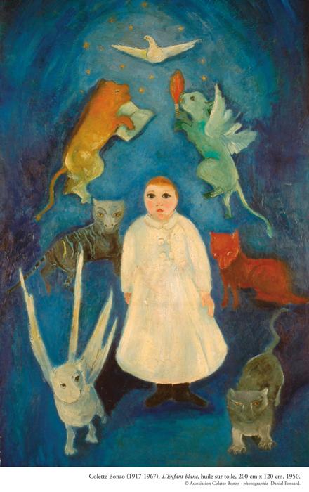 """Colette Bonzo, """"L'Enfant blanc"""", huile sur toile, 200 x 120 cm, 1950."""