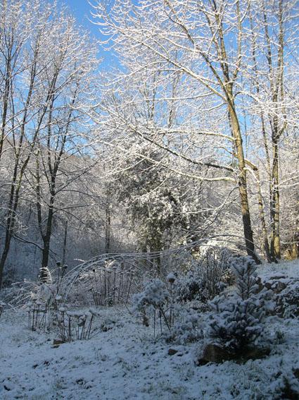 Jardins du Château du Pin sous la neige 2.