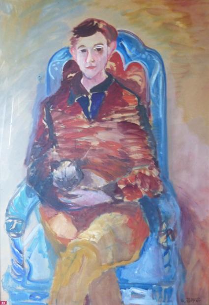 """""""Portrait de Christian au chat"""", huile sur carton, 108 cm x 74 cm, 1962."""