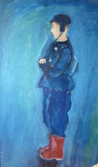 """""""Portrait de Christian aux bottines rouges"""", huile sur carton, 107 cm x 65 cm, 1954."""