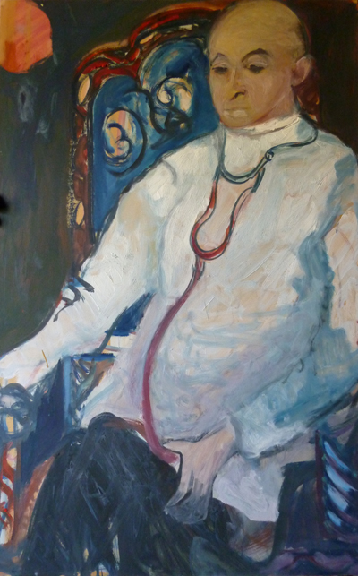 """""""Portrait d'Élie en médecin"""", huile sur carton, 100 x 65 cm, 1965."""