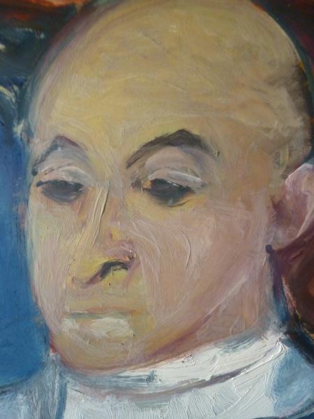 """""""Portrait d'Elie en médecin"""" (détail) huile sur carton, 100 cm x 65 cm, 1965."""