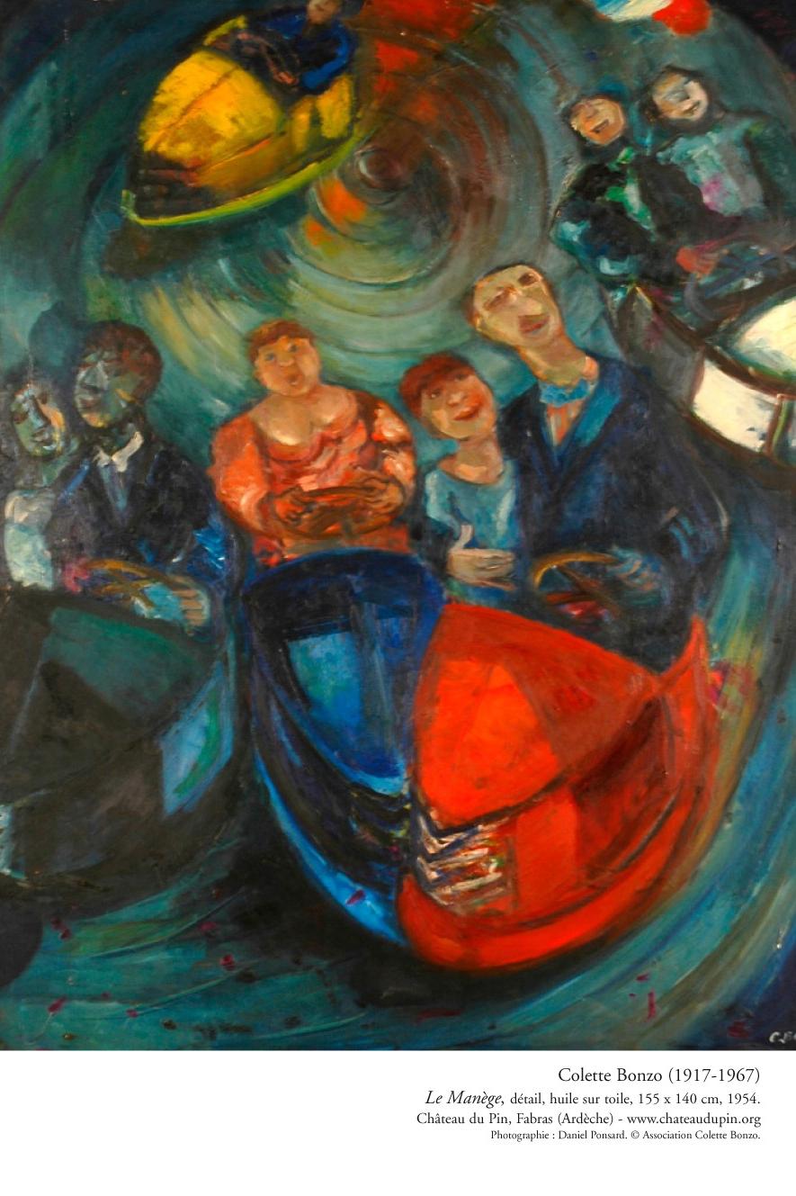 """Colette Bonzo, """"Le Manège"""", détail, huile sur toile, 155 x 140 cm, 1954."""