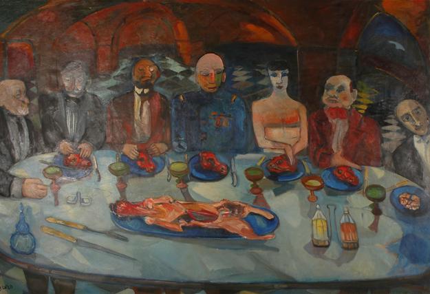 """Colette Bonzo, """"Les mangeurs de moutons"""", 1956, huile sur toile, 202 x 302 cm"""