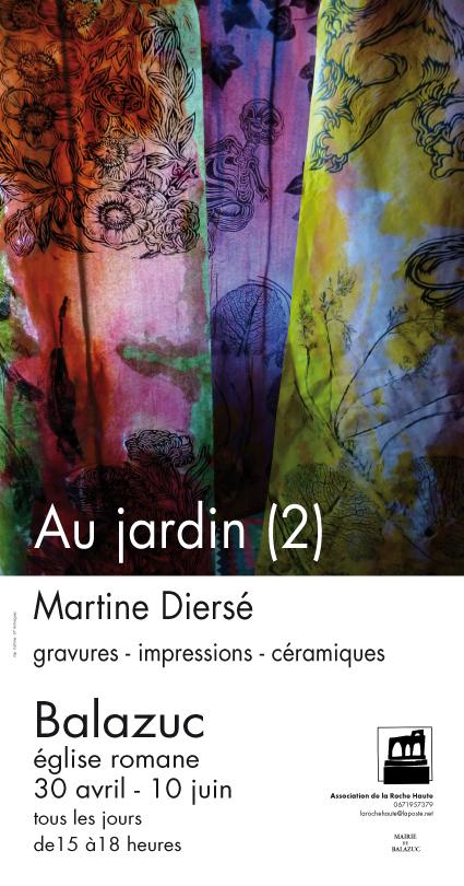 """Martine Diersé : exposition """"Au jardin (2)"""". Eglise romane de Balazuc, 2012."""